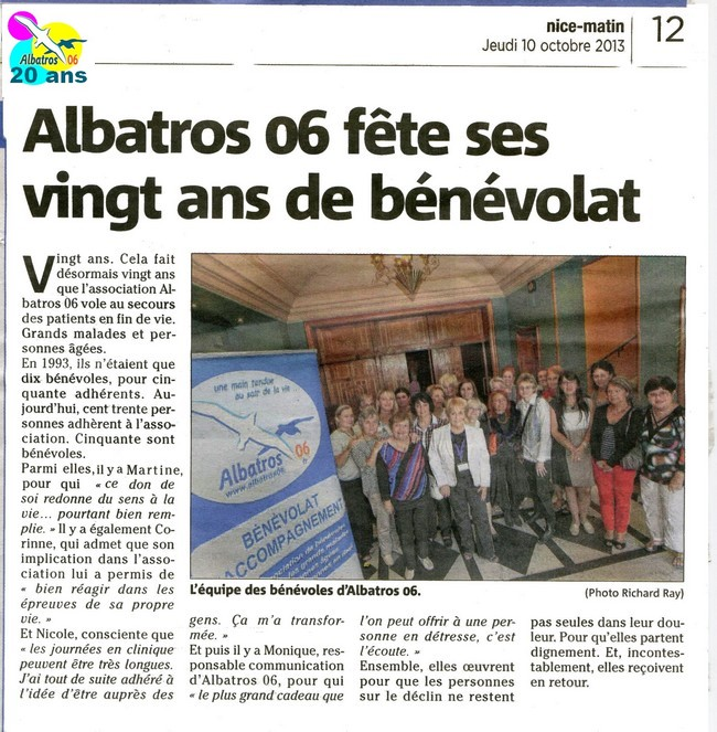 albatros 06 b u00e9n u00e9volat d u0026 39 accompagnement des malades en soins palliatifs en  u00e9tablissement